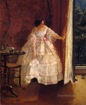 Belgian Art - Lady at a Window Feeding Birds lady Belgian painter Alfred Stevens