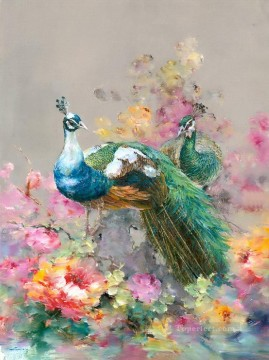 Peacock in Blossom 0 928 birds Oil Paintings