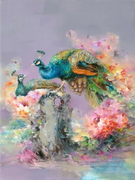 Bird Painting - Peacock in Flowers Floral Branches birds