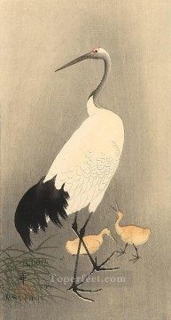 Animal Painting - Red crowned Crane Ohara Koson birds