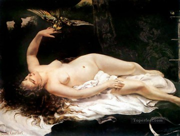 realism realist Painting - Woman with a Parrot Realist Realism painter Gustave Courbet birds