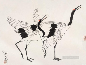 Animal Painting - Wu zuoren cranes old China ink birds
