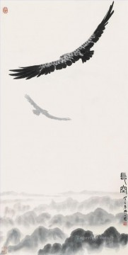 Bird Painting - Wu zuoren eagle in sky 1983 old China ink birds