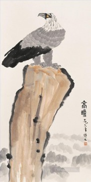 Bird Painting - Wu zuoren eagle on rock old China ink birds