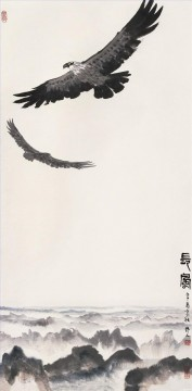 Bird Painting - Wu zuoren eagles on mountain old China ink birds