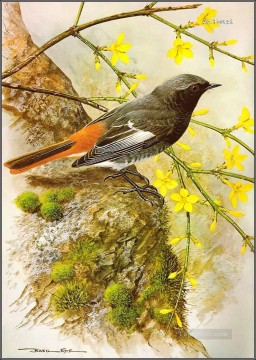 bird and floral tree Oil Paintings