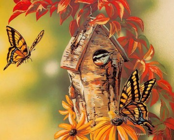 bird baby and butterfly Oil Paintings