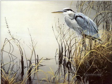 Animal Painting - bird in grass near water