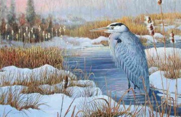 bird in water winter snow Oil Paintings
