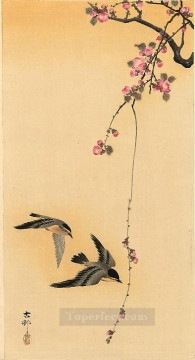 Bird Painting - cherry blossom with birds Ohara Koson birds
