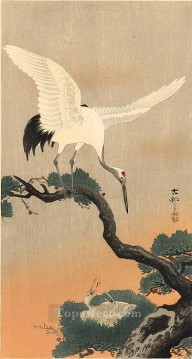 Animal Painting - crane over his nest Ohara Koson birds