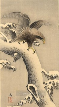 Bird Painting - eagle under snow Ohara Koson birds