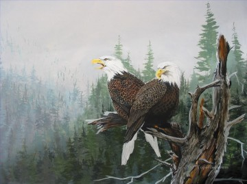 Bird Painting - eagles over forest birds