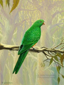 Animal Painting - female king parrot birds