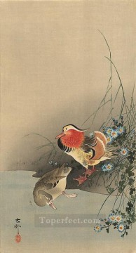 Animal Painting - mandarin ducks Ohara Koson birds