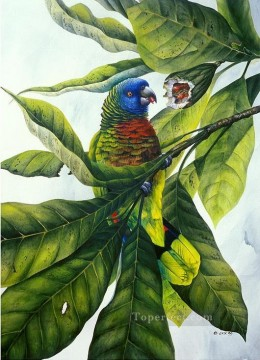 Bird Painting - parrot and fruit birds