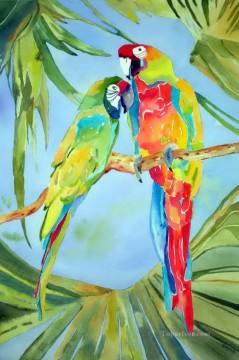 Bird Painting - parrots chatting birds