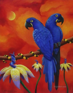 Animal Painting - parrots in red background birds