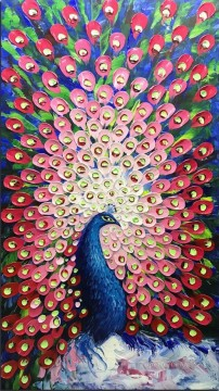 Animal Painting - peacock in pink birds