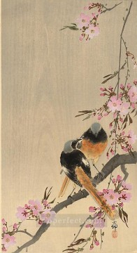Animal Painting - redstart on cherry branch Ohara Koson birds