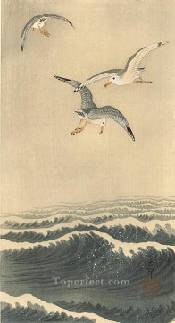 Animal Painting - seagulls over the waves Ohara Koson birds