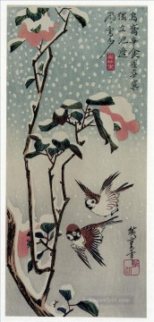 Animal Painting - sparrows and camellias in the snow 1838 Utagawa Hiroshige birds