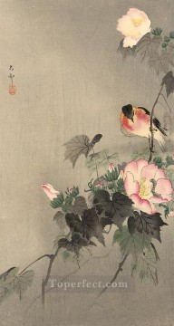 Animal Painting - stonechat and blossoming flower Ohara Koson birds