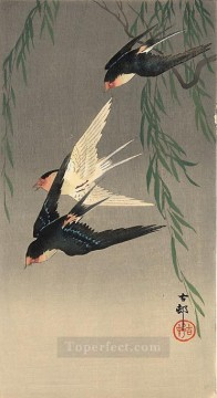 Bird Painting - swallows in flight Ohara Koson birds