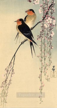 Animal Painting - swallows with cherry blossom Ohara Koson birds