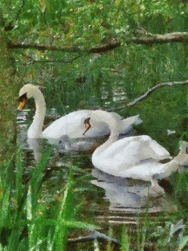 Animal Painting - swan in green lake birds