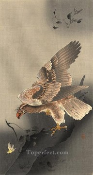 Animal Painting - swooping eagle Ohara Koson birds