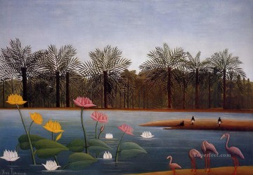 Animal Painting - the flamingoes 1907 Henri Rousseau birds