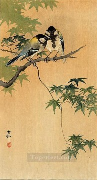 tits on maple Ohara Koson birds Oil Paintings