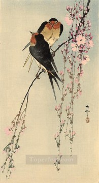 Animal Painting - two barn swallows on blossoming cherry Ohara Koson birds