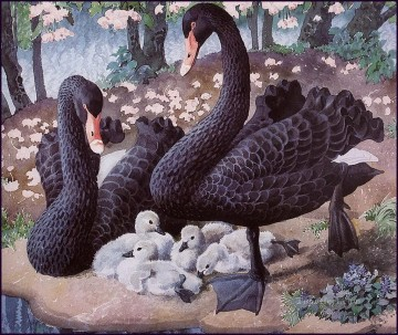 Black Swan Family birds Oil Paintings