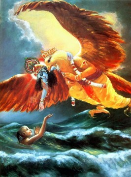 Bird Painting - Krishna and eagle king saving boy in sea birds