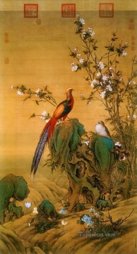 Bird Painting - Lang shining birds in Spring old China ink Giuseppe Castiglione birds