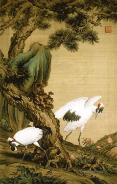 Animal Painting - Lang shining two cranes under pine tree old China ink Giuseppe Castiglione birds