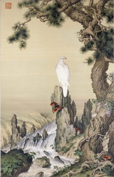Bird Painting - Lang shining white bird near waterfall old China ink Giuseppe Castiglione birds