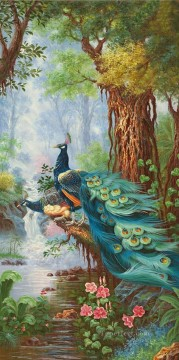 Peacocks in Blossom Forest Floral Trees birds Oil Paintings