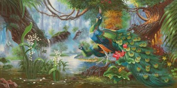 Bird Painting - Peacocks in Blossom Forest Flowers Trees birds