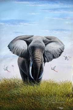 cattle bull cow Painting - Wanjeri Bull Elephant birds