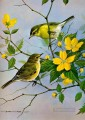 birds and yellow flowers