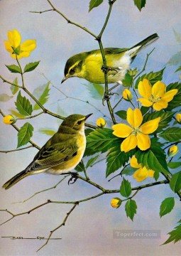 flowers - birds and yellow flowers
