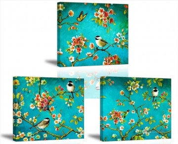 butterfly Painting - birds butterfly in blossom branches 3 panels birds