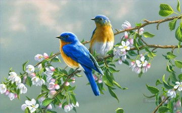 Animal Painting - bluebirds with flowers birds