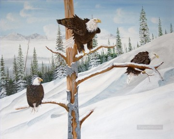 Bird Painting - eagles in winter birds