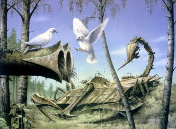 Animal Painting - fantasy peace at last birds