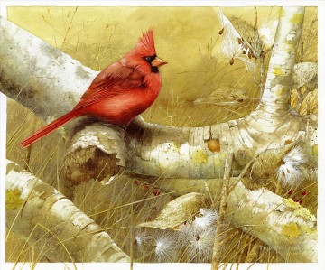 Animal Painting - parrot on tree birds