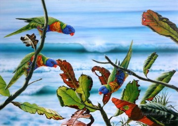Bird Painting - parrots meeting birds